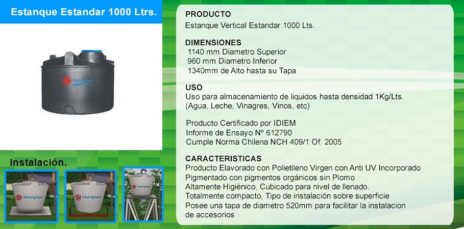 Mp venta de estanques para agua de pl stico for Estanques para agua 1000 litros